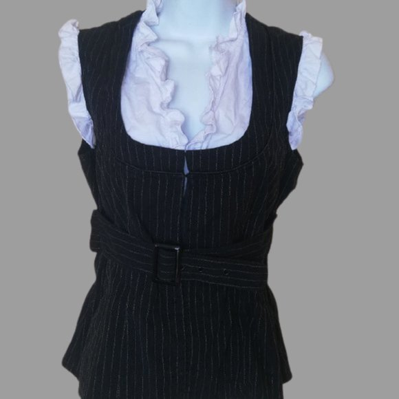 Le Chateau Black White Belted Blousy Top Small